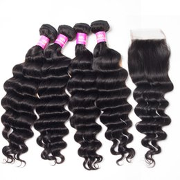 smooth soft hair UK - VIYA Loose Curl 4 Bundles With 4*4 Lace Closure Unprocessed Malaysian Virgin Remy Hair Machine Double Weft Soft And Smooth