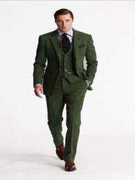 $enCountryForm.capitalKeyWord Australia - Classic Green Tweed Suit Men Custom Made Slim Fit Wedding Suits For Men 3 Pieces Men Suits With Pants Smart Business Blazer