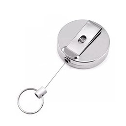 belt key clips UK - Retractable Keychain Metal Card Badge Holder Belt Clip Key Ring Metal Buckle Recoil Ring Pull Gift HHA1266