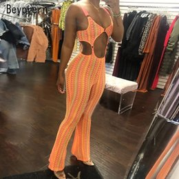 womens strapless rompers Australia - Beyprern Sexy Cut Out Buckle Jumpsuit Bodycon Rompers Fashion Womens Neon Orange Buckle Night Out Birthday Outfits Ravewears MX190726