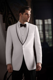 Navy Suits For Sale Australia - Pure White Shawl Lapel Cathedral Bridegroom Wedding Suits Two Pieces (White Blazer+Black Pant) Best Men Clothing Set For Sale