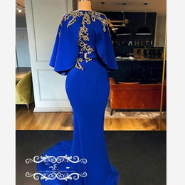 Discount royal cape dress - Vintage Mermaid Royal Blue Evening Dresses With Cloak Cape Gold Beads 2019 Arabic Dubai Women Designer Long Prom Dress P