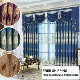 WindoWs european online shopping - European and American Style Chenille fabric Flocked embroidery Window curtains Deluxe Villa Bedroom Living Room tulle screen
