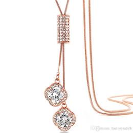 Korean Ladies Pendant Australia - Qiao Lanxuan new Korean sweater necklace Clover necklace silver lock bone chain ladies pendant jewelry stall wholesale