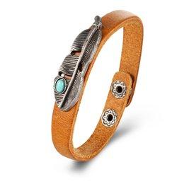 $enCountryForm.capitalKeyWord Australia - HZS Hot Sale Punk style Retro Turquoise Feather Leather Bracelet High Quality Delicate Handmade Jewelry Unisex Gift Free Shippingcd70#