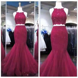 $enCountryForm.capitalKeyWord NZ - 2019 Spaghetti Strips Mermaid Prom Dresses Lace Appliques Top Tulle Formal Two Piece Vestidos De Soiree Customized Evening Party Gowns Cheap