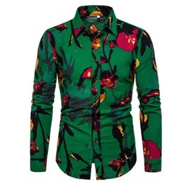 $enCountryForm.capitalKeyWord Australia - Elegant Hand Painted Flower Print Shirt Men Shirt Turn-down Collar Tops Linen Clothes High Quality Big Size 5XL Man Casual Blusa