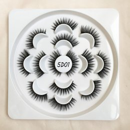 5d lashes mink 2021 - 7 Pairs Lashes Flower Tray 5D Faux Mink Eyelashes Natural Long Thick Handmade False Eyelash G-EASY cheap 5d lashes mink