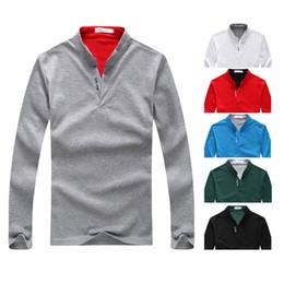 Discount mens european style long t shirts - 2019 Mens Polo Tee T-Shirt Solid Color Casual Polo Shirts High Street Mens Polo Shirt Long Sleeve Clothing Mens Tshirt P