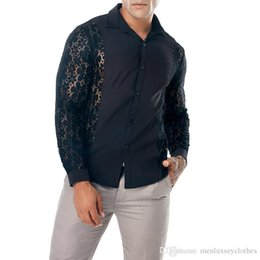 Wholesale long collar top fashion style resale online - Mens Designer Lace Shirts Fashion Casual Turn Down Collar See Through Long Sleeve Tops Mens New Style Tees