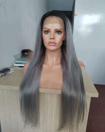 $enCountryForm.capitalKeyWord Australia - Full Lace Wigs With Baby Hair Dark Roots 1B Grey Human Hair Wigs Ombre Silky Straight Lace Front Wig Two Tone