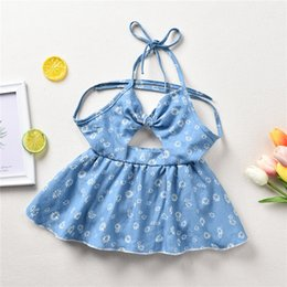 Wholesale Newborn Infant Baby Girls Floral Romper dress sweet blue sleeveless Halter Bandage denim dress summer Clothes M