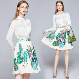long printed skirts shirt 2020 - Fashion Style Two Pieces Sets Dress Spring Fall Runway Women's White Print Shirt +Pleated Skirt Suit Office Lady Bu