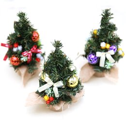 mini decorations UK - 1pc Mini Christmas Tree Cute Plastic Small Xmas Pine Trees Xmas Home Party Desk Table Decorations Ornaments Supplies Gifts