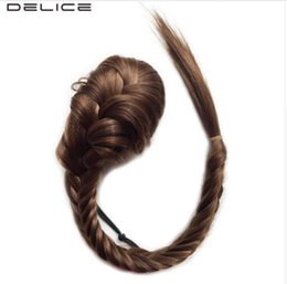 "blonde mix ponytail UK - 20"" Long Braided Fishtail Ponytails Women's Clip In Straight Pony Tail With Elastic Drawstring Rope Synthetic Hair"