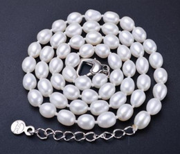 Pearl 17 Inch NZ - 7-8mm Beaded Necklaces White Pink Purple Water Droplets Shape Natural Pearl Necklace 17 Inch 925 Silver Clasp