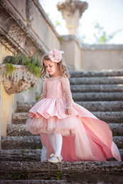 Ruffled long cheap wedding dResses online shopping - 2020 Cheap Hi Lo Pink Flower Girls Dresses For Weddings Jewel Satin Lace Tulle Appliques Beads Long Sleeves Girls Pageant Gowns Kids Prom