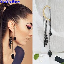 Indian Ear Chain Australia - 12pcs lot wholesale 20cm long tassel bead pendant clip earring ear cuff for woman Punk chain single ear hang hook earring jewelry