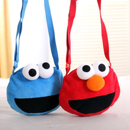 BaBy cookies online shopping - Fashion Plush Key Coin Purse Round Sesame Street Cookie Monster Wallet Baby Toddler Messenger Bag Easy To Carry qd BB