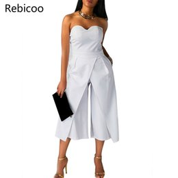 Wholesale black pants rompers for women resale online – Wide Leg Jumpsuit Rompers Women Off the Shoulder Split Front Dressy Loose Long Pants Black White Strapless Jumpsuits for Ladies T200528