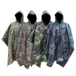 Discount man tents - Outdoor camping jungle Hunting Long Raincoat 3 in 1 Tactics Camouflage Raincoat Men Poncho Backpack Rain Cover Tent Mat