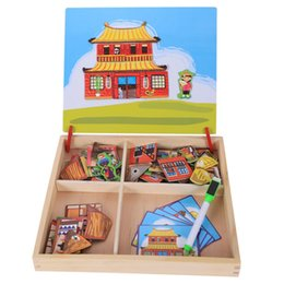 babies toy boxes NZ - Magnetic Fun Jigsaw Children Wooden Puzzle Board Box Pieces Games Cartoon Educational Drawing Baby Toys For Girls Boys,bui