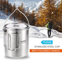 $enCountryForm.capitalKeyWord NZ - Lixada 750ml Stainless Steel Pot Portable Water Mug Cup with Lid and Foldable Handle Outdoor Camping Cooking Picnic Cup