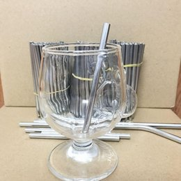 shooting tools UK - Wholesale Customsized !! 100MM *6MM Eco-Friendly Stainless Steel Straw Reusable Food Grade Sucker Shot Glasses Drinking Tools Straight Straw