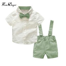 5ef96aa198987 Tem Doger Baby Boy Clothing Set 2018 New Summer Infant Boys Clothes Tie  Shirts+overalls 2pcs Outfit Sets Bebes Gentlemen Suit Q190530