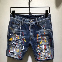 $enCountryForm.capitalKeyWord Australia - Men Denim Jeans Shorts Hole Paint dot Personality Brand Pants Skinny Simple Comfortable Male Destroyed short Jeans AAA1956