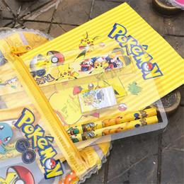 Pokemons Stationery Stationery مجموعة قرطاسية بيكاتشو قلم ممحاة حاكم رياض الأطفال هدية عيد ميلاد للأطفال