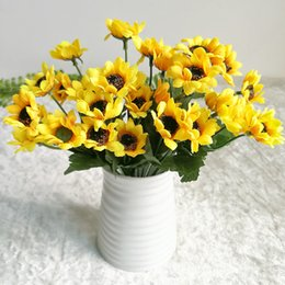 $enCountryForm.capitalKeyWord Australia - wholesale 14 heads artificial sunflower bouquet Silk Artificial Flowers Bouquet For Home Decoration Office Party Garden Decor