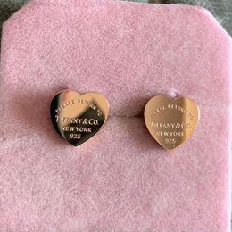 Prongs earring online shopping - 2019 gold silver rose gold Stainless Steel deluxe Brand Heart Stud Earrings For Women Lady Fashion Charm Earrings Wedding Jewelry