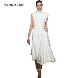 8fac190c04 Alta calidad Kate Middleton primavera pasarela estrella de la mujer con el  cuello alto sin mangas blanco vestido largo D190111205