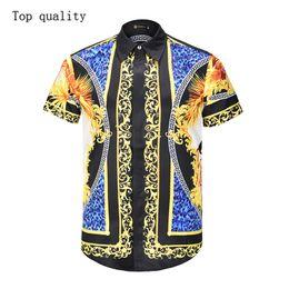 Double Shirt Designs Australia - wholesale new design 3d tiger printed custom men beach wear stripe hawaiian men tops casual business fashion men's short sleeve shirts