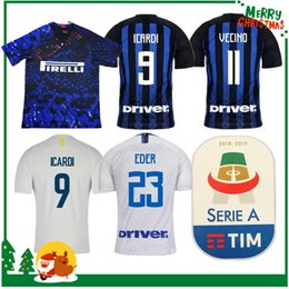 c6357bf92 18 19 Inter home away 3rd jersey CANDREVA EDER ICARDI JOVETIC 2018 2019  Milan Kondogbia Jovetic Icardi sports blue white green shirts