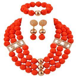 $enCountryForm.capitalKeyWord NZ - Pretty African Necklace Artificial Coral Beads Jewelry Set Nigerian Wedding Jewelry Sets for Women Bridal Jewellry CBS46