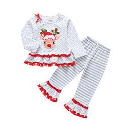 Suits Price NZ - Fashional Christmas Newest Hot Selling Factory Price High Quality Cotton Kids Girls Christmas Dress Pants Suits Baby Girls Suits