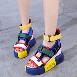 931378abb Синие сандалии на платформе для женщин 2019 Женская повседневная обувь  Босоножки на танкетке с высокой коренастой пяткой Летние туфли на высоком  каблуке 39