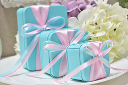 $enCountryForm.capitalKeyWord Australia - 30pcsTiffany Blue Tin Boxes with Ribbons Wedding Event Party Supplies Candy Package Box Chocolate Jewelry Storage Boxes