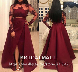 Short white formal gownS online shopping - African Sheer Neck Lace Long Sleeves Burgundy Prom Dresses Sexy Front Slit Formal Evening Dresses Cheap Party Gowns Vestido de fiesta