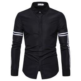 Striped Slim korean dreSS online shopping - New Fashion Casual Men Shirt Long Sleeve Striped Splicing Slim Fit Shirt Men Korean Business Mens Dress Shirts Clothes M XL