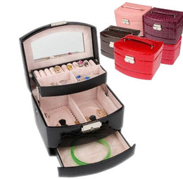 $enCountryForm.capitalKeyWord Australia - 3 Layers Jewelry Boxes And Packaging Leather Makeup Organizer Storage Box Container Case Gift Box Women Cosmetic Casket
