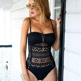 $enCountryForm.capitalKeyWord Australia - Sexy Hollow One Piece Swimsuit Lace Durable Brazilian Bikini Mesh Padded Wire Free Swimwear High Elastic Quick Dry Bathing Suit DBC DS0500