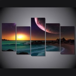 $enCountryForm.capitalKeyWord Australia - Sunrise At The Beach,5 Pieces Home Decor HD Printed Modern Art Painting on Canvas (Unframed Framed)