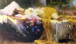 Pino Oil Paintings NZ - Sleeping Beauty by Pino Daeni High Quality Handpainted &HD Print Impressionist Wall Art oil painting On Canvas Home Decor Multi Sizes P21.73
