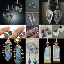 Wholesale tribal indian for sale - Group buy Vintage Indian Tribal Green Resin Dangle Earrings Bohemian Big Long Hollow Drop Earrings for Women Hippie Jewelry