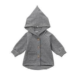 China 2018 new fashion Newborn Infant Baby Boy Girl Striped Sweatshirt Hoodie Cardigan Coat Clothes drop shopping otc10 cheap baby clothes shops suppliers