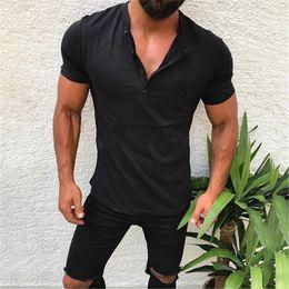 Wholesale mens long v neck t shirts online – design Men Tops Tees Short Sleeve t shirt fashion Slim Fit V neck T shirt Mens Summer Clothes Plus Size M XL