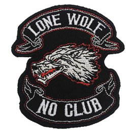 $enCountryForm.capitalKeyWord Australia - LONE WOLF NO CLUB embroidered iron on backing motorcycle biker patch badge for jacket jeans bags vest 10 pieces  LOT